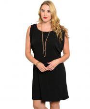 Buy Jonathan Martin Dress Plus Size 1X-3X Solid Black Sleeveless Scoop Neck Keyhole