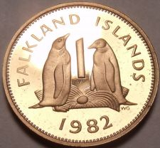 Buy Rare Proof Falkland Islands 1982 Penny~Penguins~only 5,000 Minted~Free Ship~
