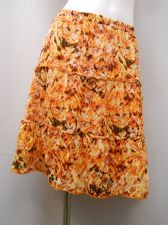 Buy AGB Geometric Multi Color Elastic Waist Three Tired Peasant Lined Skirt Size S
