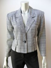 Buy Joule NEW Black and White Glen Plaid Unlined Long Sleeve 1-Button Blazer S PR