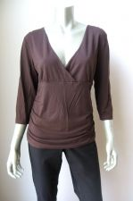 Buy H & M NEW Choco Stretch Rayon Gathered Sides 3/4 Sleeve Kimono Neck Blouse L PR