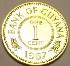 Buy RARE PROOF GUYANA 1967 CENT~5,100 MINTED~1ST YEAR EVER~FREE SHIPPING~