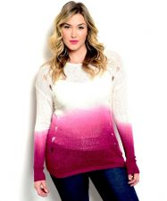 Buy Zenobia Women's Sweater Plus Size Ombre Tech Printing Distressed Sides Magenta