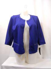 Buy Elementz Jacket Plus Size 1X 2X 3X Blue Zipper Pockets 3/4 Sleeves Flyaway
