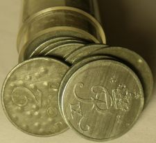 Buy Circulated Roll (50 Coins) Denmark 2 Ore Coins~Zinc~1944-1964~Free Shipping