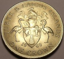 Buy Rare Unc Turks & Caicos Islands 1969 Crown~Only 50,000 Minted~1st Crown~Free Shi
