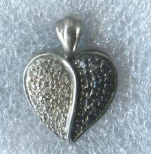 Buy Black & White Pave Diamond Heart Pendant : Sterling 925 Silver Hallmarked HN