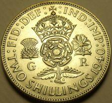 Buy Au/Unc Silver Great Britain 1940 2 Shillings~Crowned Tudor Rose~Shamrock~Fr/Ship