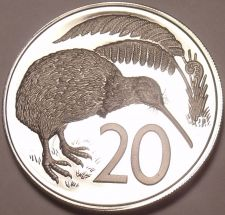 Buy Rare Proof New Zealand 1975 20 Cents~Only 10,000 Minted~Kiwi Bird~Excellent~Fr/S