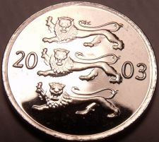 Buy Gem Unc Estonia 2003 20 Senti~Three Lions Stacked~Excellent~Free Shipping