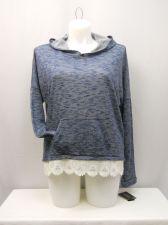 Buy Energie Women's Knit Hoodie Size XXL Blue Lace Hem Long Sleeves Kangaroo Pocket