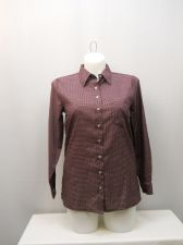 Buy Haband Women's Button Down Shirt Size M Pocket Checked Long Sleeve Collared Neck
