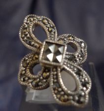 Buy sz 6 Vintage Eternity Cross Ring : Sterling Silver and Marcasite signed A