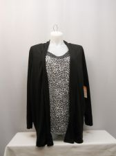 Buy PLUS SIZE 4X Womens Top WHITE STAG Embellished Black Animal Print Layered Look