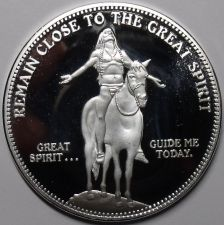 "Buy Silver Plated Cameo Proof Indian ""Remain Close To The Great Spirit"" Medallion~FS"