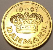 Buy Gem Uncirculated Denmark 1996 25 Ore~Large Crown~Free Shipping