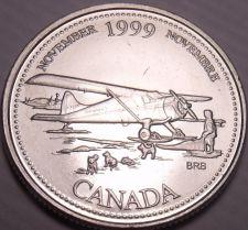 Buy Unc Canada 1999 Millennium 25 Cents~November~Bush Plane With Landing Skiis~Fr/Sh