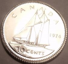 Buy Proof Canada 1974 10 Cents~Bluenose Sailing~213,589 Minted~Free Shipping