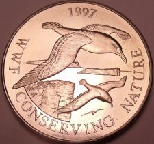 Buy Massive Gem Unc Falkland Islands 1997 50 Pence~WWF Conserving Nature~Free Ship
