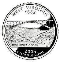 Buy 2005-D WEST VIRGINA BRILLIANT UNC STATE QUARTER~FREE SHIPPING INCLUDED~VERY NICE