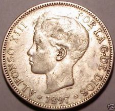 Buy 1897(97)SG-V SPAIN RARE 5 PESETAS~WE HAVE RARE COINS~