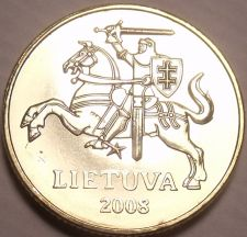 Buy Gem Unc Lithuania 2008 20 Centu~Knight On a Horse~Excellent~Free Shipping