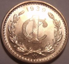 Buy Scarce Rare Gem Unc Mexico 1939 Centavo~Now Over 70 Years Old~Free Shipping
