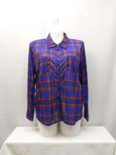 Buy Derek Heart Women's Button Down Shirt Plus Size 2X Blue Red Plaid Long Sleeves