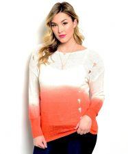 Buy Zenobia Women's Sweater Plus Size Ombre Tech Printing Distressed Sides Orange