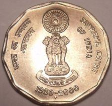 Buy SUPER GEM UNC INDIA 2000 SUPREME COURT 2 RUPEES~FR/SHIP