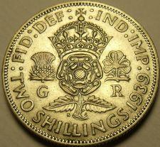 Buy Silver Great Britain 1939 2 Shillings~Crowned Tudor Rose~Shamrock~Free Shipping