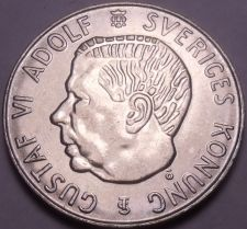 Buy Unc Silver Sweden 1955-TS 5 Kronor~Edge Incription~Duty Before All~Free Shipping