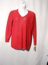 Buy Charter Club Red Sequins V-Neck Long Sleeved Medium Knit Sweater Plus Size 1X