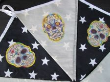 Buy Skull White Stars Black Fabric Bunting Double Sided Banner 12 Flags 10 ft 117 in