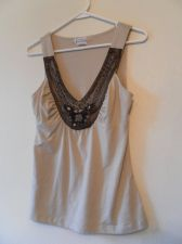 Buy Womens Soulmates Sleeveless V Neck Embellished Stretch Shirt Size S Beige