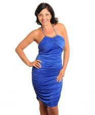 Buy Halter Bodycon Dress JUNIOR PLUS SIZE 1X-2X SOWULO Solid Royal Blue Embellished
