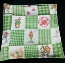 Buy 100% quilted Cotton Pot Holder Country Garden flower watering can birdhouses