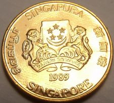 Buy Gem Unc Singapore 1989 Cent~Singapore National Arms~Free Shipping