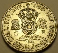 Buy Silver Great Britain 1938 2 Shillings~Crowned Tudor Rose~Shamrock~Free Shipping