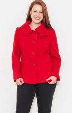 Buy Coat Junior Plus Size 1XL-3XL Naranka Red Bow Embellishment Button Down Collar