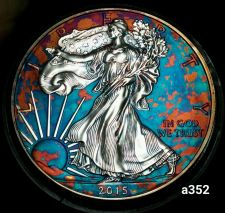 Buy 2015 Rainbow Monster Toned Silver American Eagle Coin 1 ounce uncirculated #a352
