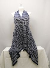 Buy Women's Wrap Scarf Vest Size XL COMO VINTAGE Navy Geometric Asymmetrical Hem