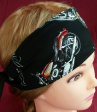 Buy Headband hair wraptie bandanna mens womens Motorcycles print 100% Cotton