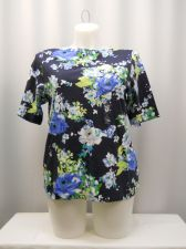Buy Charter Club Tunic Knit Top Plus Size 1X Women's Floral Boat Neck Short Sleeves
