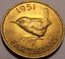 Buy Rare Unc Great Britain 1951 Farthing~Wren~Fantastic~Free Shipping