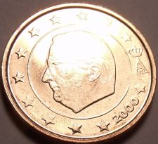 Buy Gem Unc Belgium 2000 2 Euro Cents~Minted In Brussels~Albert II~Free Shipping