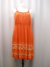 Buy PLUS SIZE 1X Womens Dress STYLE&CO Orange Braided Spaghetti Straps Elastic Waist