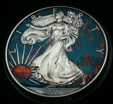 Buy 2015 Rainbow Monster Toned Silver American Eagle 1 ounce fine uncirc #a276