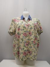 Buy PLUS SZIE 2X Button Down Shirt BILLBLASS Floral Embroidered Collar Short Sleeves