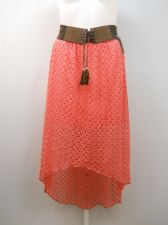 Buy SIZE XL Womens Bohemian Asymmetrical Skirt NO BOUNDARIES Solid Coral Laced Belt